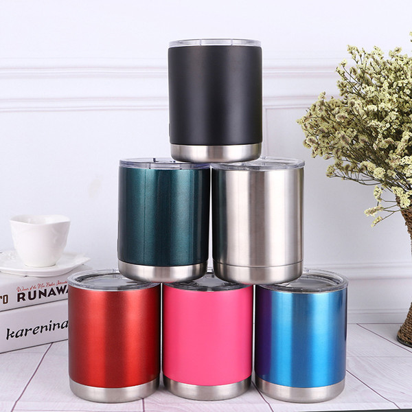 a269a3446c2 10oz Vacuum Insulated Tumbler Cup Stainless Steel Lowball With Lid Cup Wine  Beer Glasses Coffee Travel Mugs Can Cooler Cups Wholesale Thermal Coffee ...
