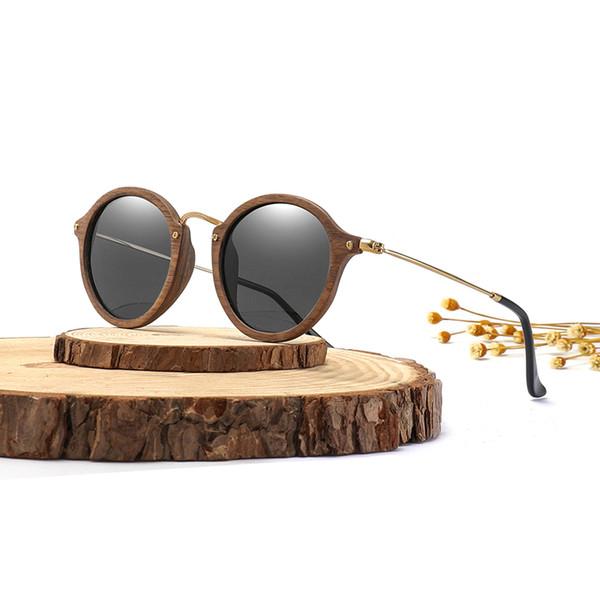 1b3058326f1bb Os homens ultraleves das mulheres polarizaram a lente redonda de madeira do  quadro CR39 dos óculos