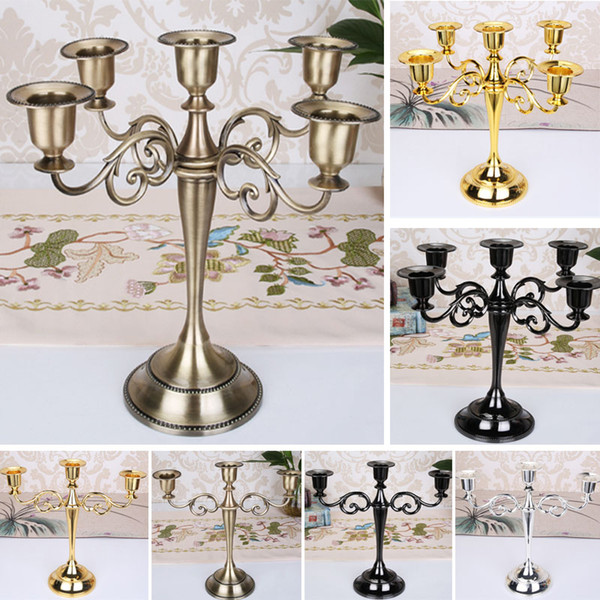 Metal Candle Holders For 5-arms / 3-arms Candle Stand Candlelight Dinner Candelabra Wedding Party Christmas Candlestick Decor Craft HH7-1565