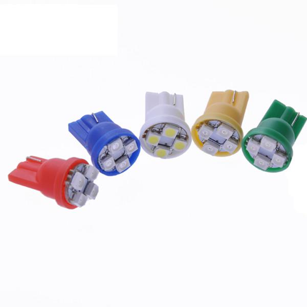 10pcs 194 168 501 T10 W5W Blanc / Vert / Rouge / Jaune / Bleu 4 3528 SMD LED Wedge light ampoules de plaque d'immatriculation 12V