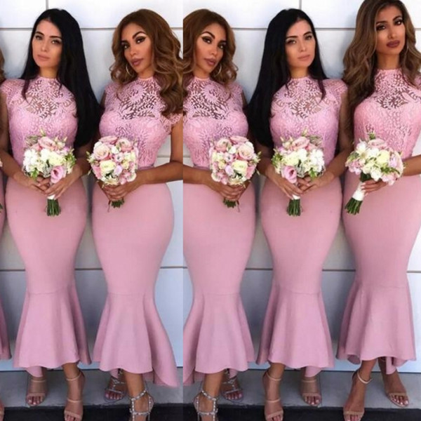 Gorgeous Pink Mermaid Bridesmaid Dresses Lace And Satin Tea Length Maid Of Honor Gowns For Wedding Sheer Neck Fishtail Bridesmaid Dress