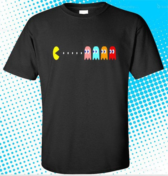 New PACMAN & GHOSTS Video Games Retro Men's Black New 2018 Hot Summer Casual T-Shirt Printing