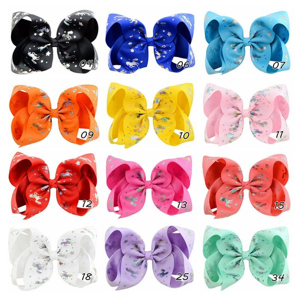 12pcs 6 inch Elegant Unicorn Horse Print Grosgrain Ribbon Bow With Clip For Kids Girl Colorful Hairpins Hair Accessories HD846