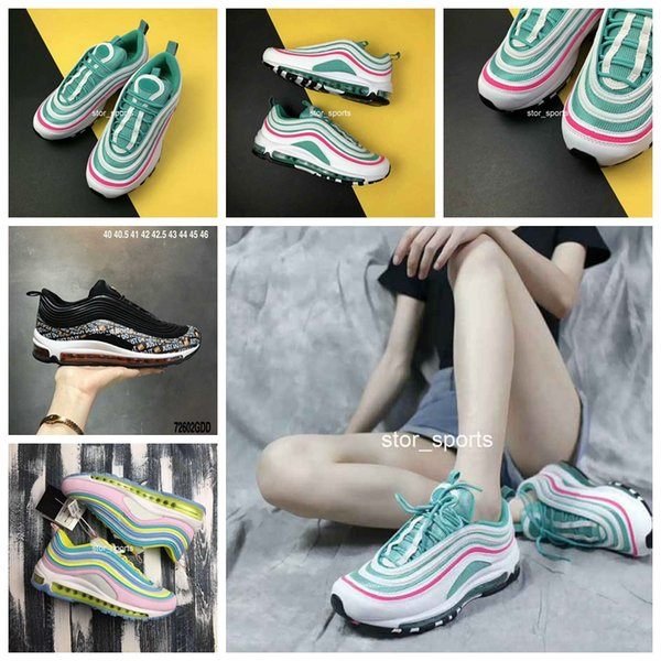2018 THESHOEGAME x Shoes 97 97s South Beach Candy Pink Green Marshmallow Bullet Cushion Mens Women Breathable Running Shoes Jogging Sneakers
