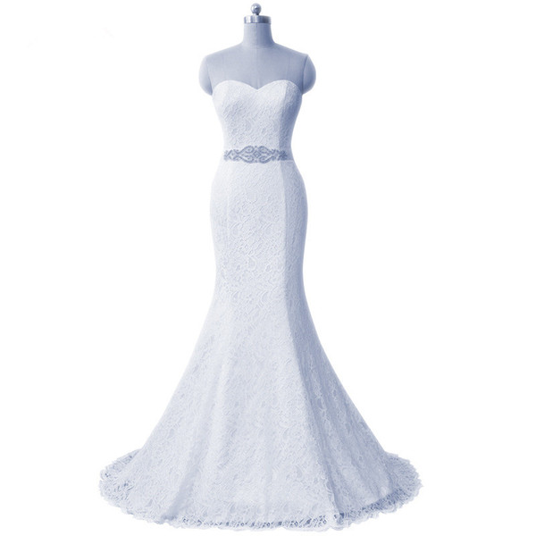 Lace Mermaid Wedding Dresses 2019 New Sweetheart Neckline Bridal Gowns Cheap Wedding Gowns White Ivory Red Pink