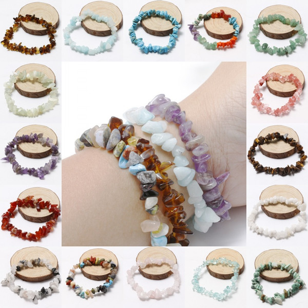 20 Styles Crystal Blue Natural Garnet Sand Gravel Stretch Bracelet Jewelry Original For Women Brithday Gifts Support FBA Drop Shipping H333R