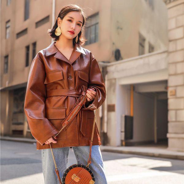 New Autumn Womens Motorcycle Jacket Faux Leather Single Breasted Sashes Long Jacket Women Biker Jacket Slim Coffee PU Punk Coat