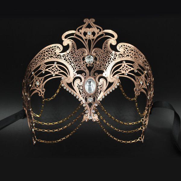 PHANTOM Stile Masquerade Maschera Festa In Metallo Con Diamante
