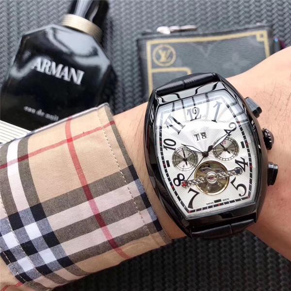 Orologi di qualità da uomo Orologi di lusso in pelle nera da uomo Orologi di moda marca tourbillon orologio da polso meccanico automatico da polso