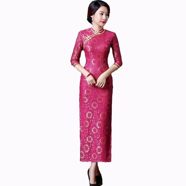 Spring Autumn New Chinese Lady Lace Cheongsam Traditional Long Qipao Sexy Sheath Dress Vintage Club Wear S M L XL XXL XXXL
