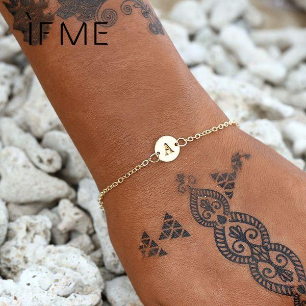 IF ME Fashion Initial Letter Round Charms Bracelet & Bangle for Women Pulseras Capital J K Pendant Chain Name Bracelets Jewelry