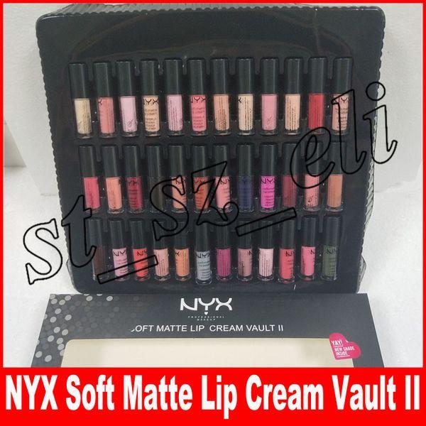 NYX SOFT MATTE LIP CREAM VAULT nyx 36PCS Set Lipstick Lip Gloss Matte No Fading Sofe Velvet Lip Makeup kit 30 colors set Lingerie Vault