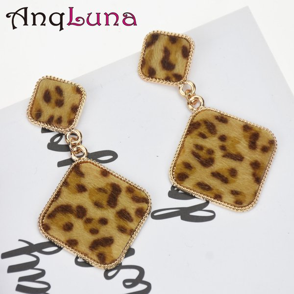 2018 New Trendy Big Square Dangle Earrings For Women Alloy Leopard Print Leather Statement Drop Earring Fashion Party Jewelry