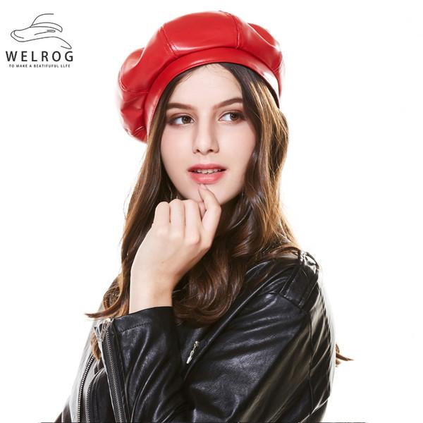 WELROG Felet Beret Donna Nero Rosso PU Berretto in pelle PU Per donne Autunno Inverno Berretto piatto Gorras Femminile Retro Beanie Caps