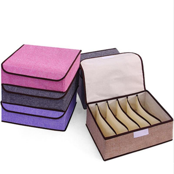 6/8 Grids Underwear Bra Storage Box Foldable Drawer Clothes Socks Organizer Container Case for Ties Scarve