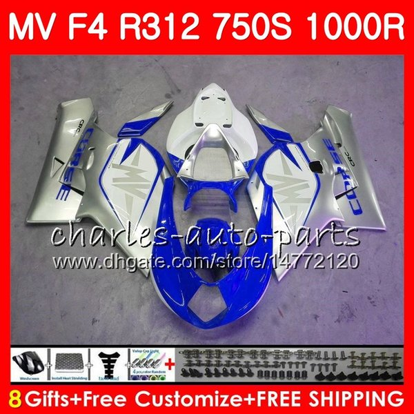 Body Silvery blue For MV Agusta F4 R312 750S 1000 R 750 1000CC 05 06 102HM.2 750 S 1000R 312 1078 1+1 MA MV F4 2005 2006 05 06 Fairing kit