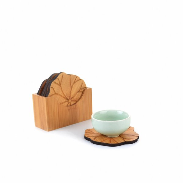 Natural Bamboo Lotus Leaf Shaped Round Decor Pad Dia.80mm x 6 Cup Mat w/ Holder Gongfu Kung fu Tea Tray