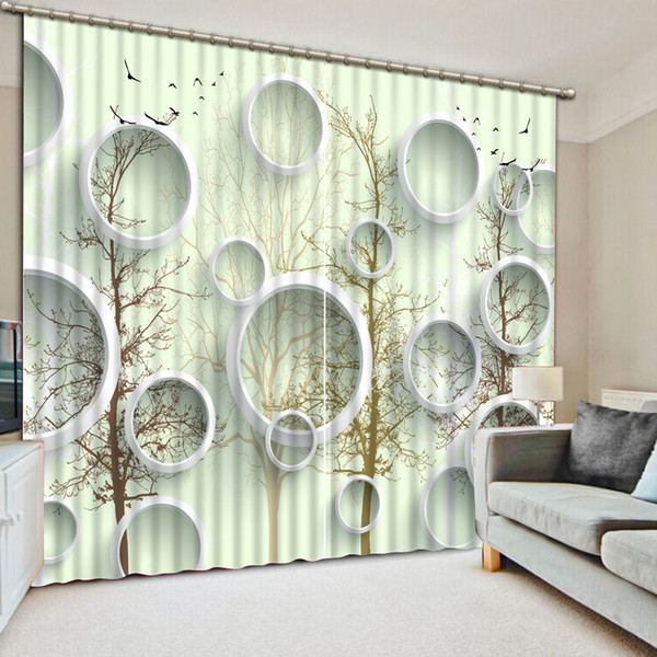 2019 Modern Bedroom Living Room Curtains Circle Photo Printing 3D ...
