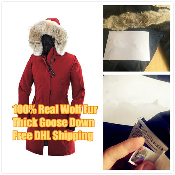 Winter Down Parkas Hoody Canada Kensington real Wolf Fur Women's Jackets Zippers Designer Jacket Warm Coat Outdoor Parka for women