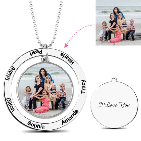 Custom Color Photo Engraved Necklace Personalized Circle Picture Suspensions Memorial Necklaces Silver 925 Chain Women Mom Gift
