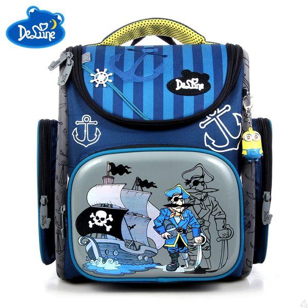Delune School Bags Children Backpacks Orthopedic Bag for Boys School Backpacks Nylon Material Cartoon Boar Pattern Bag Grade 1-5