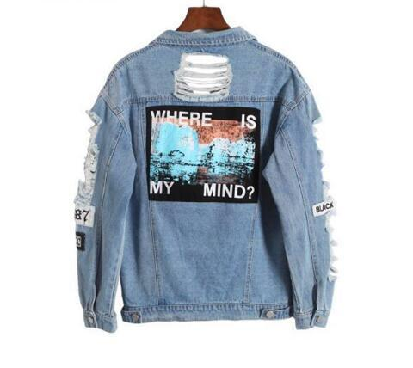 Hot Sale Light Blue Letter Patch Ripped Pockets Single Breasted Denim Coat Women Casual Summer Jacket Wear