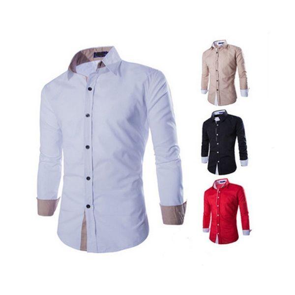 2018 Yeni Erkek Gömlek İş Uzun Kollu Yatak açma Yaka Erkek Gömlek Slim Fit Patchwork Renk Casual Gömlek