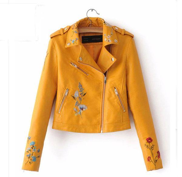 Женщины цвета конфеты Pu Leather Jacket Turn Down Воротник Rivet Zipper Мода Прохладный Верхняя одежда Пальто Верхняя джинсовой одежды