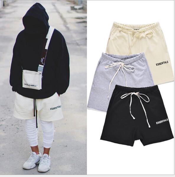top popular Mens High Street Elastic Waist Shorts Pants Women Hip Hop Essentials Print Fear Of God Pants Lovers Cutton Solid Color Casual Pants 2019