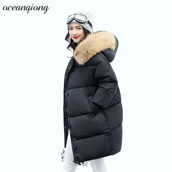Womens Padded Jacket Parkas 2017 Fashion Women Long Winter Jacket Warm Coon Hooded Fur Collar Female Parkas Wadded Outerwear