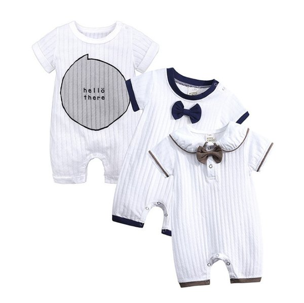 Baby Boy Romper Summer Short Sleeve One-pieces Jumpsuit with Bow tie Baby Onesie Gentleman Cotton Newborn Baby bodysuit Y115