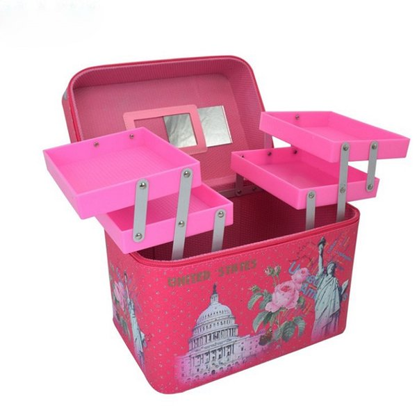 Makeup Bags & Cases Makeup Train Cases Professional Storage Box Blush Pink Stripe with Lock and Handles 8 Styles Women Fashion Bag