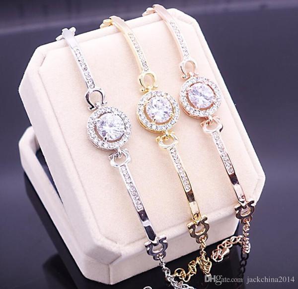 Nouvelle arrivée coréenne mignonne bijoux de luxe 18K WhiteRoseGold rempli multi couleur CZ cristal chaud femmes Bracelet chaîne pour cadeau de lovers