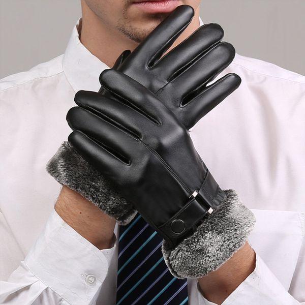 2018 Winter Warm Men's Leather Fur Gloves Wrist Screen Sense Windproof Men Black Driving Mittens Classic Belt Business Gloves