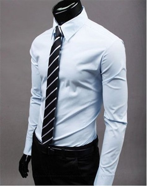 New Fashion Brand Light blue Groom Shirts Long Sleeve Shirt Men Slim Design Formal Casual Male Dress Shirt Size M-5XL (C8015)