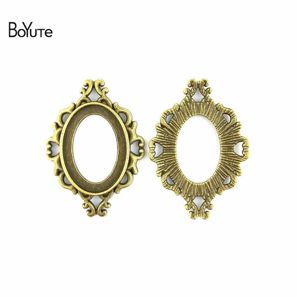 BoYuTe (40 Pieces/Lot) 25*18MM Cabochon Base Vintage Diy Accessories Parts Antique Bronze Silver Western Style Blank Pendant Setting Jewelry