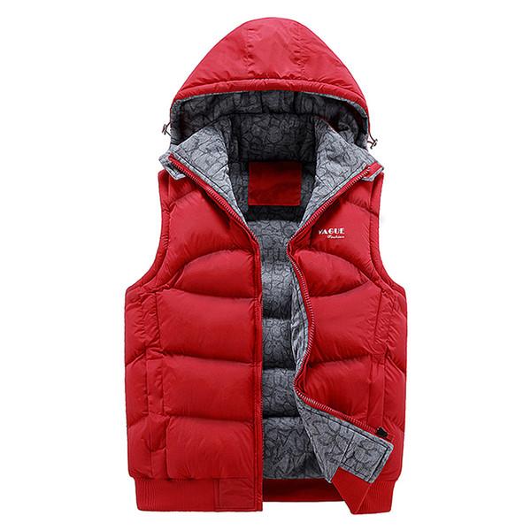 Cotton Fashion Sleeveless Jacket Men Thickening Cotton Vest Hat Hooded Warm Vest Winter Waistcoat Men Casual Windbreaker Suit Vest