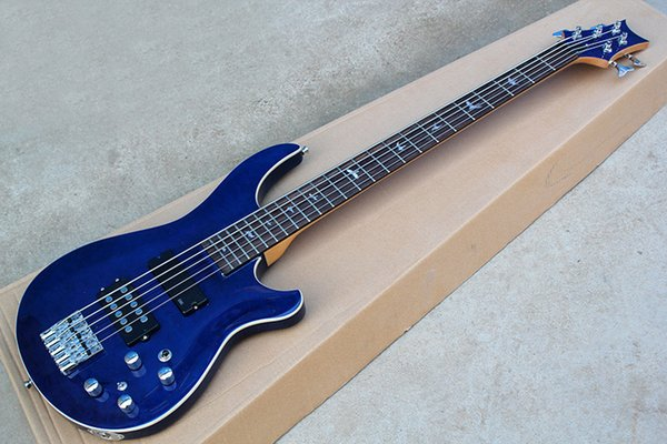 Blue body 5 Strings Electric Bass Guitar with Chrome Hardwares,Neck-thru-body,can be customized