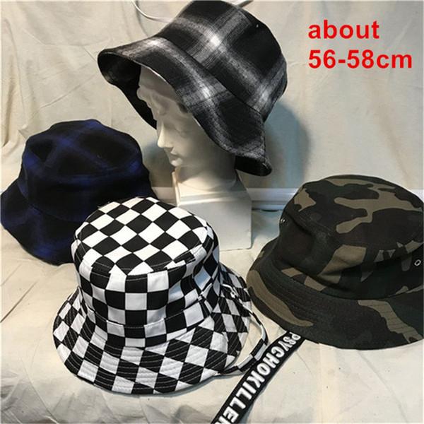 IG Hot Checker Cubo Sombrero Negro Blanco A Cuadros Unisex Cap Mujer Hombre Estética Harajuku Street Style Wear para Adolescentes Niñas Niños D18110601