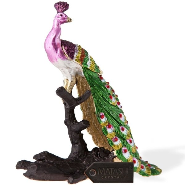 Hand Painted Regal Peacock on a Perch Ornament/Trinket Box Embellished with 24K Gold and High Quality Crystals by Matashi