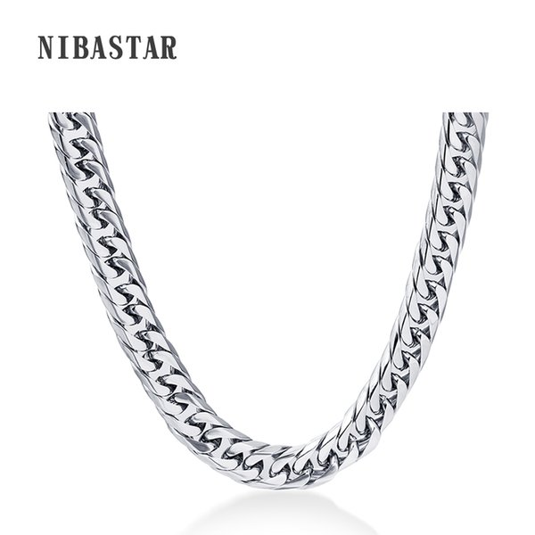 24'' Mens Chain Stainless Steel Necklace 8mm Curb Cuban Link Silver Color Fashion Jewelry