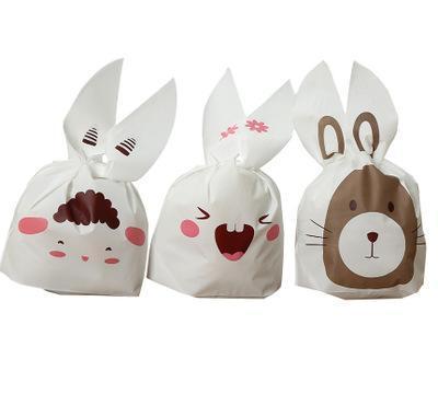 Heißer Verkauf 5pcs / lot nette Kaninchen-Ohr-Plätzchen-Beutel-Geschenk-Beutel für Süßigkeits-Keks-Imbiss-Backen-Paket-Ereignis-Partei-Versorgungsmaterialien
