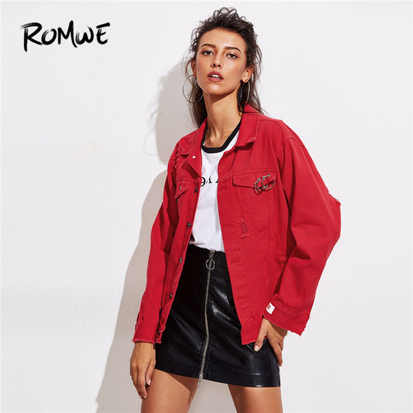 ROMWE O-Ring Detail Destructed Denim Jacket 2018 Spring Single Breasted Plain Women Coat Red Collar Casual Jacket S18101205