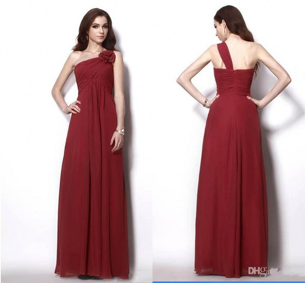 Wine Red One shoulder Long Cheap Bridesmaid Dresses With Handmade Flowers Empire Chiffon Pleated Wedding Party Formal Prom dress Gowns