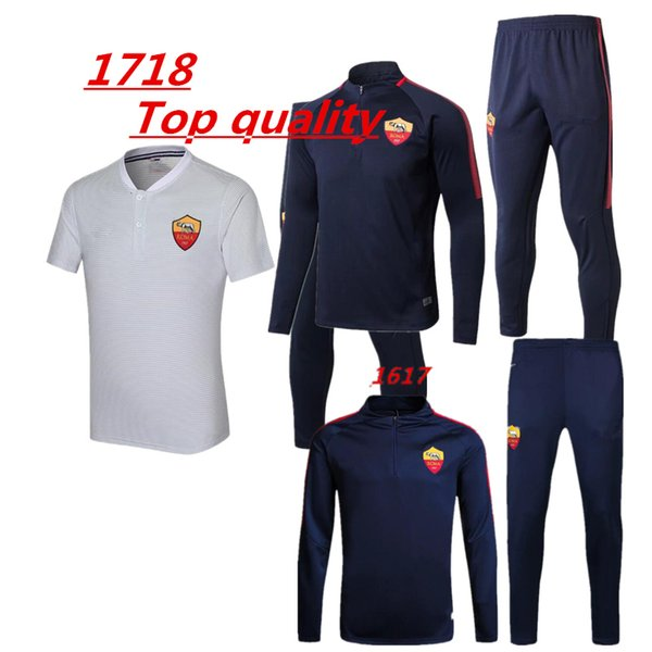 Top quality 2017 2018 Rome Football tracksuit 17 18 TOTTI de foot DE ROSSI DZEKO PEROTTI EL SHAARAWY jacket Training suit