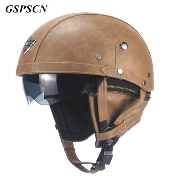 GSPSCN Vintage Motorcycle Motorbike Rider Half Open Face PU Leather Motorcycle Helmet Visor With Collar Leather Motorbike