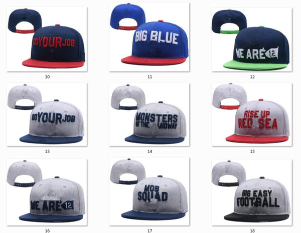 top popular New Caps College Football Snapback Hats 2018 Draft Cap 16 Teams Hats Mix Match Order All Caps in stock Top Quality Hat Wholesale 2021