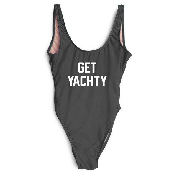 Womens One Piece Body Suit Bathing Swim Wear bodySuit Get YACHTY slogan Letters Hot Pink Fuchsia White Summer Beach Pool Season YWXK