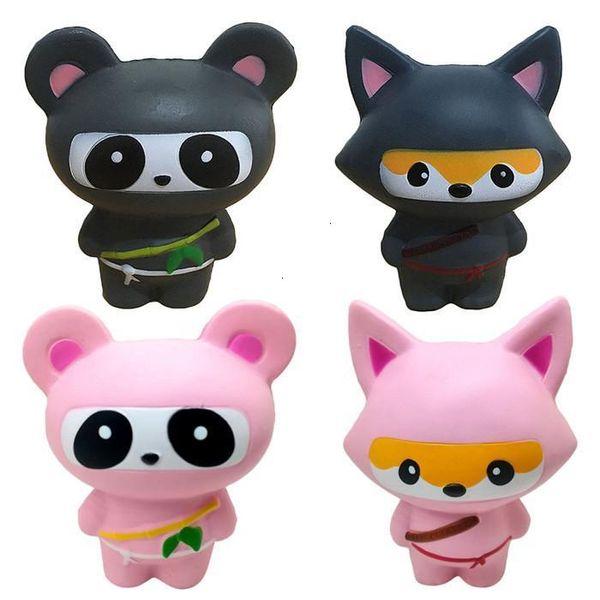Squishy Ninja Panda Bear Fox Squishy Pink Animal Slow Rising Kids Phone Strap Pendant Bread Cake Scented Kid Toy Gift Charm