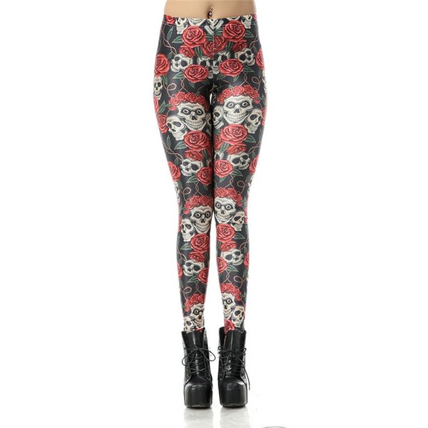 Wholesale Free Shipping Women Skull ROse Snowflake Galaxy Forest 3D Sublimation Printed Skinny Tight Trousers Fashion Leggings